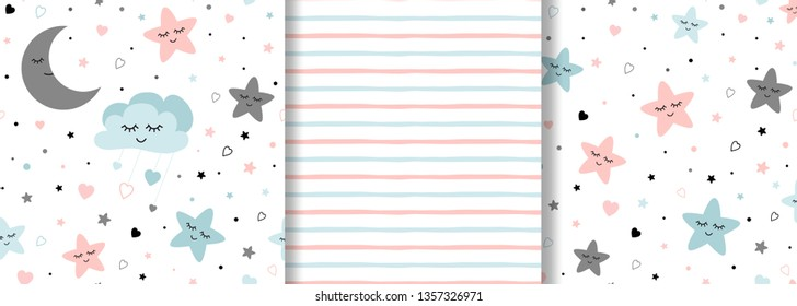 Set of baby patterns on light pink blue colors for girl or boy design Stars moon clouds on seamless background for pajamas Fabric textile pattern design Baby shower ornate vector illustration.