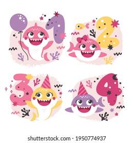 Set of Baby Shark Birthday Illustrations