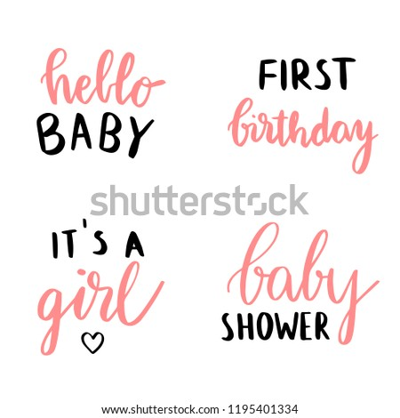 Set Baby Shower Card Design Quotes Stock Vector Royalty Free