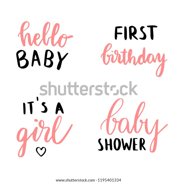 Set Baby Shower Card Design Quotes Stock Vector (Royalty ...