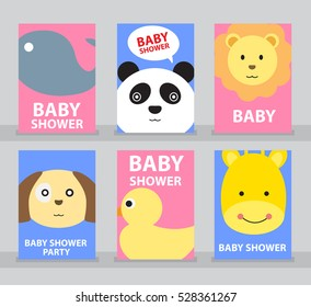 Set of Baby shower, Baby shower card, Happy birthday, Greeting card, Invitation card, Animal card, Baby cartoon vector illustration.