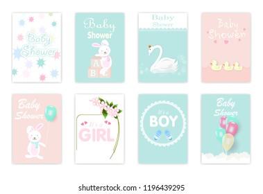 Set of baby shower cards, birthday card, greeting card, rabbit, flora, swan, duckling cute cartoon illustration