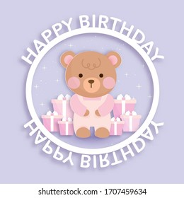 Set of baby shower cards and birthday cards with cute bear and gift boxes .