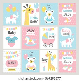 Set of baby shower cards. Vector illustrations