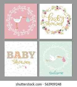 Set of Baby shower cute card. Vector illustration