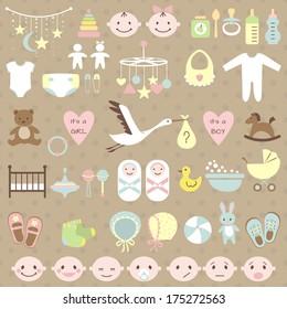 Set of baby shower elements. Vector illustration