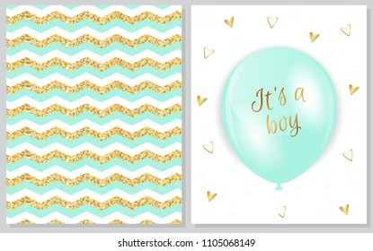 Set of baby shower invitation card. Baby frame with balloons and gold hearts on white background. It's a boy. It's a girl.