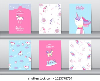 Set of baby shower invitation cards,birthday cards,poster,template,greeting,cards,cute,fantasy,unicorn,animal,Vector illustrations