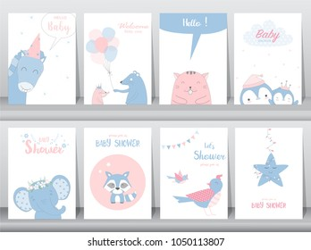 Set of baby shower invitation cards,birthday cards,poster,template,greeting cards,cute,birds,elephants,rats,animal,Vector illustrations