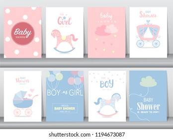 Set of baby shower invitation cards,birthday, poster,template, greeting,cute, Rocking Horse,Vector illustrations
