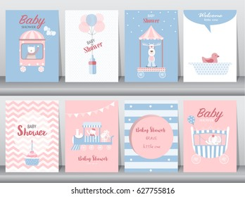 Set of baby shower invitation cards,birthday cards,poster,template,greeting cards,cute,bear,train,car,animal,Vector illustrations