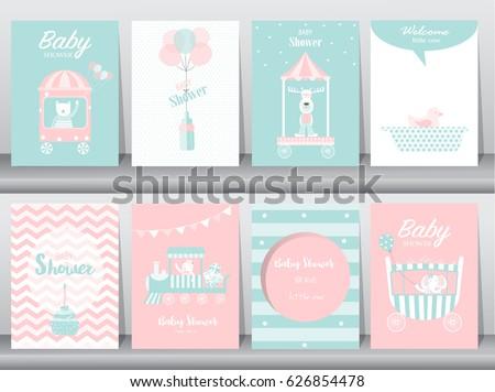 Set baby shower invitation cardsbirthday cardspostertemplategreeting set of baby shower invitation cardsbirthday cardspostertemplategreeting cards filmwisefo