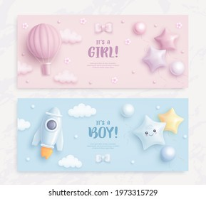 Set of baby shower invitation with cartoon hot air balloon, rocket, helium balloons and flowers on blue and pink background. It's a boy. It's a girl. Vector illustration