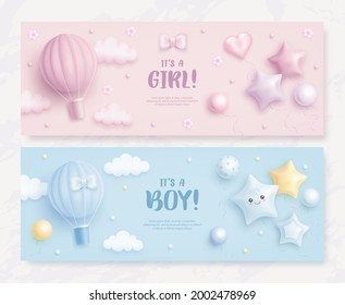 Set of baby shower invitation with cartoon hot air balloon, helium balloons and clouds on blue and pink background. It's a boy. It's a girl. Vector illustration