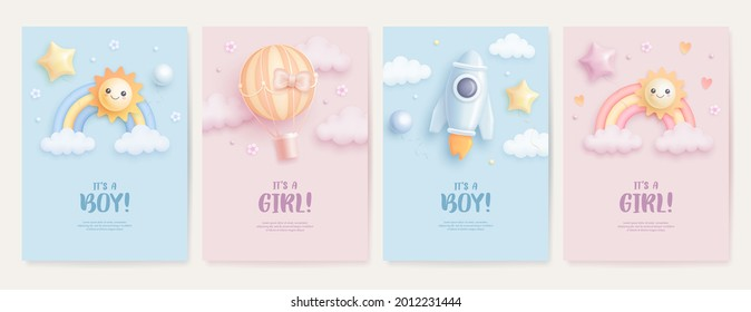 Set of baby shower invitation with cartoon rainbow, sun, rocket and hot air balloon on blue and pink background. It's a boy. It's a girl. Vector illustration