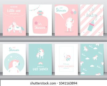 Set of baby shower invitations cards, poster, greeting, template, animals,unicorn,fantasy,birthday,happy,magic, Vector illustrations.