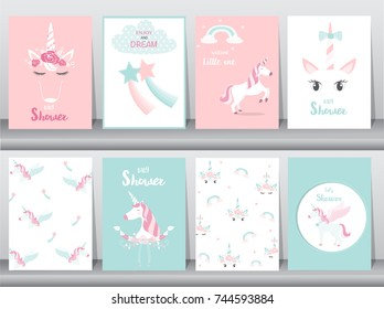 Set of baby shower invitations cards, poster, greeting, template, animals,unicorn. Vector illustrations