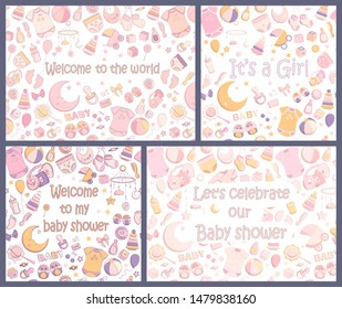 Baby Shower Karte Text.Geburtstag Karte Baby Stockillustrationen Bilder Und