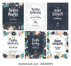 Set of Baby shower invites, vector unusual templates. Boho floral cards with flowers, arrows, feathers, branches, hand drawn text and gold decorative elements