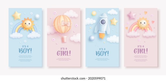 Set of baby shower vertical banner template for social networks stories. Vector illustration of cartoon rainbow, sun, rocket and hot air balloon on blue and pink background. It's a boy. It's a girl