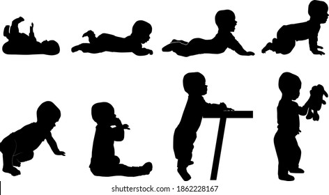 set of baby silhouettes from profile, child evolution (belly time, crawling, standing, sitting), vector silhouette isolated on white background