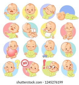 Set with baby stickers. Cute little baby boy or girl as smiley with different emotions. Face expressions. Sad, happy, scared, sleep,cry.  Template for social media, messenger. Vector illustration.