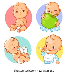 Set of baby stickers, emoji. Baby cry, eat, drink.  Child hold apple. Baby boy with different emotions. Facial expression. Vector illustration.