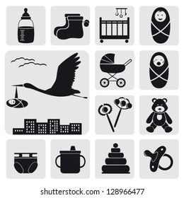 Set of baby symbols.Vector. EPS-10 (non transparent elements, non gradient)