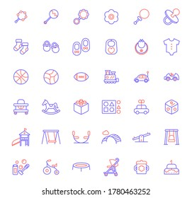 Set of baby and toy icons line style. It contains such Icons as rattle, socks, shoes, diaper, nappy, bib, ball, plaything, stroller, baby carriage and other elements.