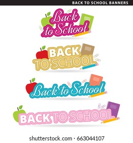 Set of back to school banners in two typographic styles.