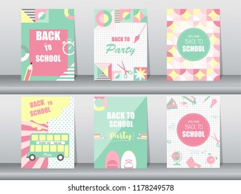 Set of Back to school card on retro pattern,school,bus,Memphis,geometric,Vector illustrations