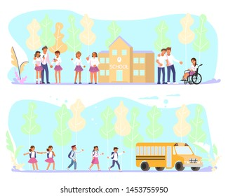 Set of Back to school horizontal banner. School children go to the schoolbus and teenagers group in front of the school building. Flat Art Vector illustration