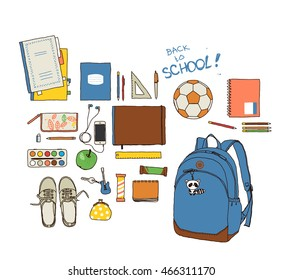 Set back to school. On a transparent background. Vector hand-drawn sketch.