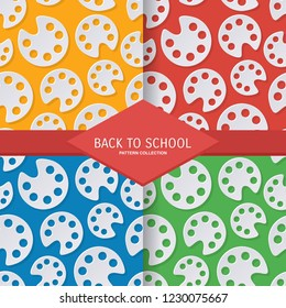 set back to school seamless pattern with fall palete color in paper cut art style. vector texture illustration on colorful background. template for textile fabric design, wrapping, web page wallpaper