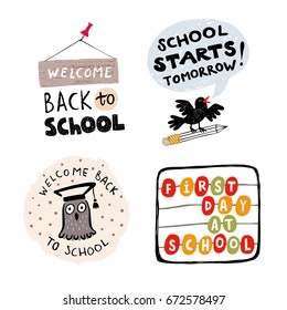 """Set of  """"Back to school"""" vector illustrations with icons and handwritten words on white background"""