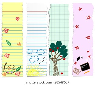 a set of back to school/graduation banners- childish doodles on pieces of paper