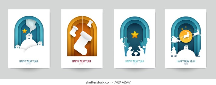 Set background for covers, invitations, posters, banners, flyers, placards. Minimal template design for branding, advertising with winter christmas composition in paper cut style. Vector illustration.