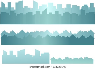 set background with skyscraper and cottage silhouette