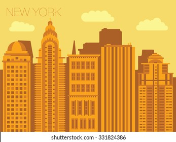 Set of backgrounds of big cities - New York. Sketch streets of the capitals of the world. Vector illustration of stylized buildings of America. Skyscraper and tower for landmark.
