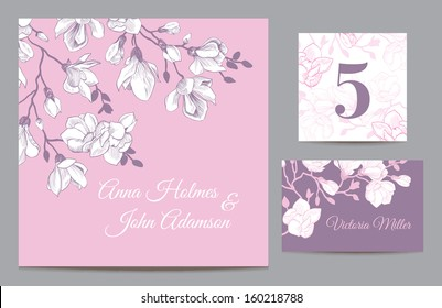 Set backgrounds to celebrate the wedding. Invitation card, table number, guest card. Vector illustration. Vintage pink with a purple background with a branch of magnolia blossoms.
