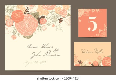 Set backgrounds to celebrate the wedding. Invitation card, table number, guest card. Vector illustration. Modern composition of coral roses, buttercups and carnations on a beige background.