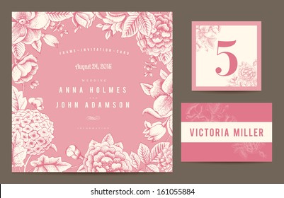 Set backgrounds to celebrate the wedding. Invitation card, table number, guest card. Vector illustration.  Flowers roses, dog-rose hydrangea in pink color.