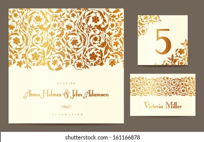 Set backgrounds to celebrate the wedding. Invitation card, table number, guest card. Vector illustration. Golden stylized elements of the field flowers on a beige background.