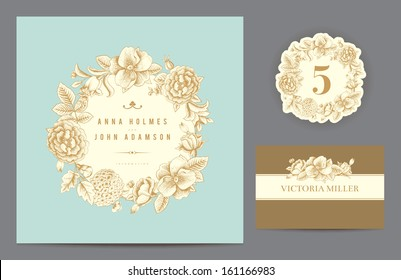 Set backgrounds to celebrate the wedding. Invitation card, table number, guest card. Vector illustration.  Round frame from flowers roses, dog-rose, hydrangea on a mint background.