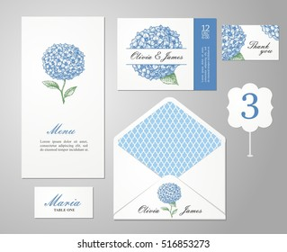 Set backgrounds to celebrate the wedding. Invitation card, table number, guest card. Vector illustration. Hydrangea.