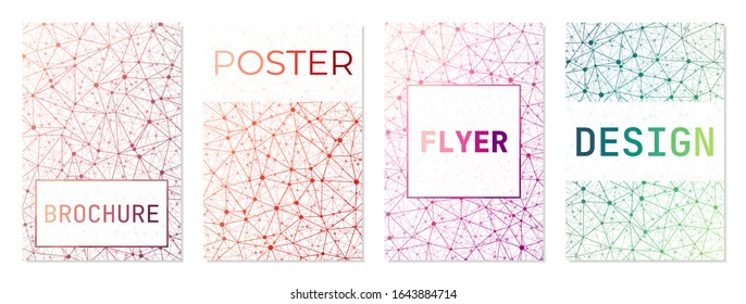 Set of backgrounds for covers or brochures. Can be used as cover, banner, flyer, poster, business card, brochure. Astonishing geometric background collection. Charming vector illustration.