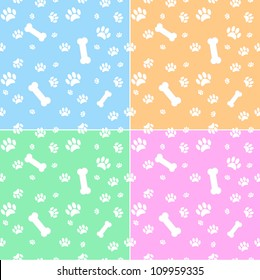 Set of backgrounds with dog paw print and bone in different colors