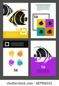 Set. Backgrounds with fishes. Pop art style. A4 size. Empty templates for your information. Decor for presentations, banners, posters, covers.