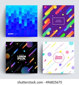 Set of backgrounds with Flat Dynamic Design. Applicable for Covers, Placards, Posters, Flyers and Banner Designs. Vector illustration.
