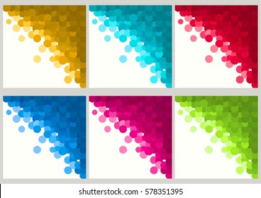 Set of backgrounds of geometric shapes. Colorful mosaic pattern. Circle